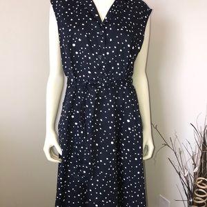 Ann Taylor - Polka Dot Dress Navy & White Size 14